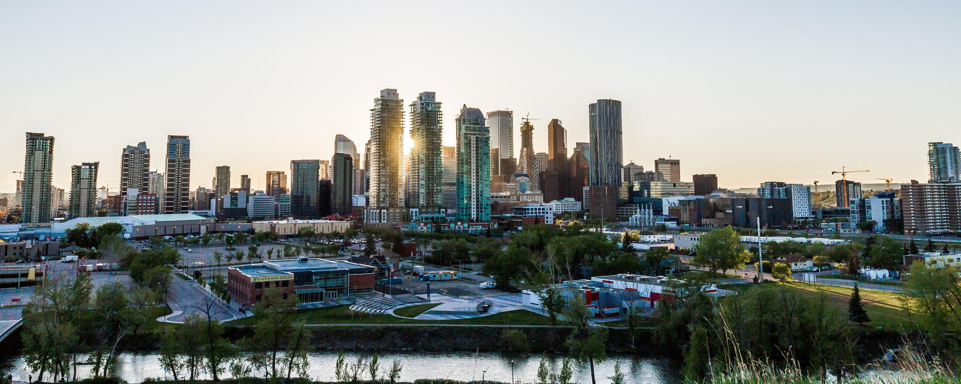 A view of downtown Calgary from the north side of the Bow River