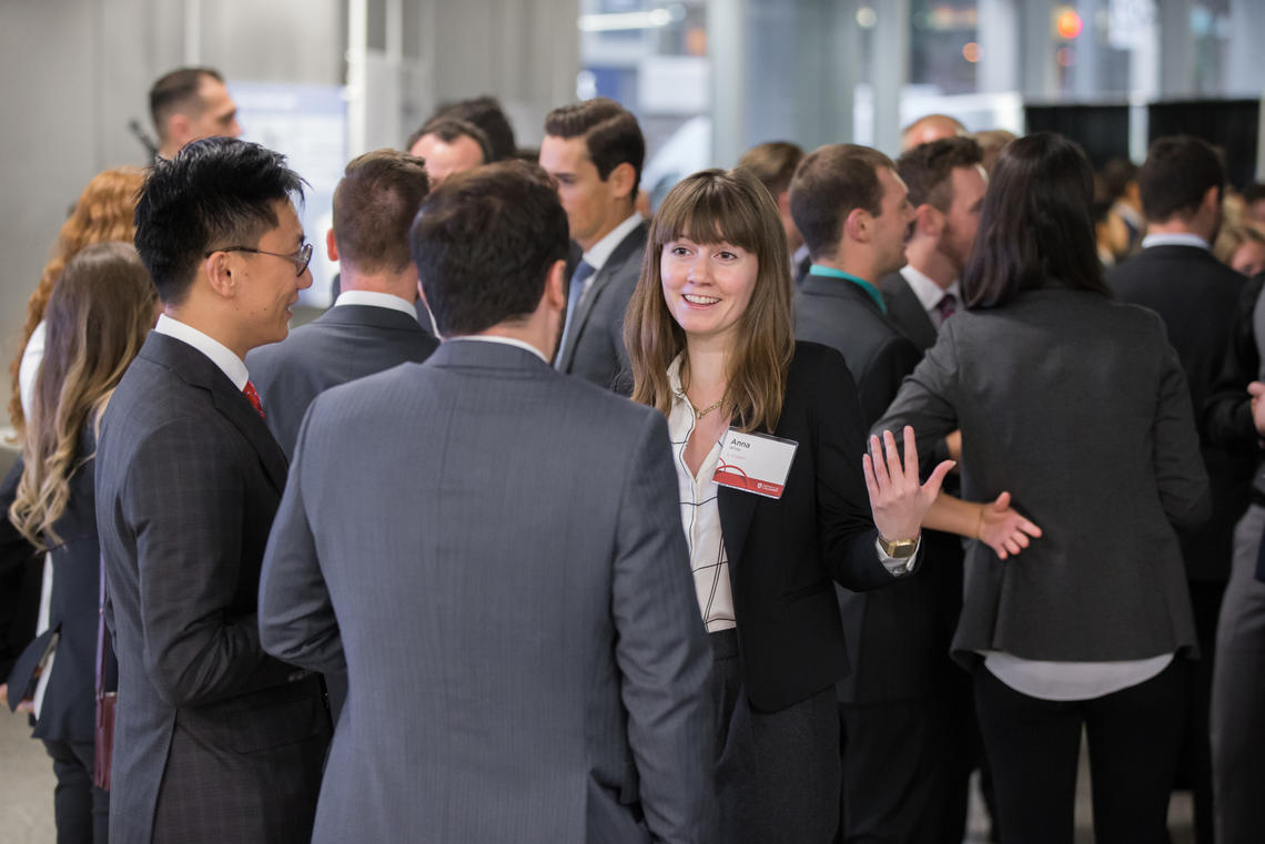 Students networking at a career event