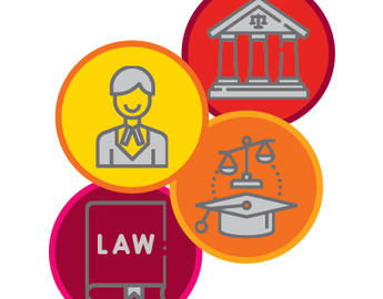 4 graphical icons - a lawyer, a courthouse, a law text book, and a graduation cap with the scales of justice.